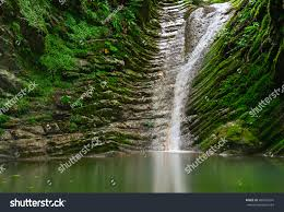 amazing natural view small waterfall deep stock photo 406405516