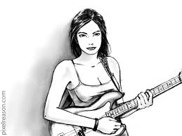 pixelreason com playing bass guitar pencil sketch