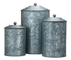 tin kitchen canisters amazon com antique style galvanized tin canister set home kitchen