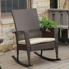 Wooden Rocking Chair Outdoor Furniture Rattan Braid Wooden With Cuhsion Outdoor Rocking Chairs