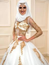 wedding dress muslimah simple 2017 white and gold muslim wedding dresses tulle lace sequins