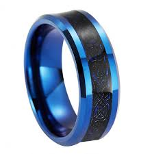 Tungsten Carbide Mens Wedding Rings by Queenwish Blue Tungsten Carbide Wedding Ring 8mm Black Celtic