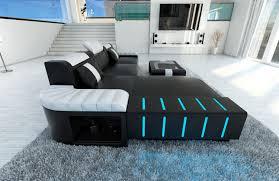 designer sofa leder modern sofa bellagio led l shaped black white ebay