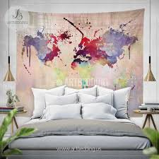 Watercolor Wallpaper For Walls by World Map Abstract Watercolor Splash Wall Tapestry Grunge World