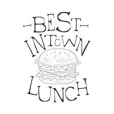best in town cafe lunch menu promo sign in sketch style with
