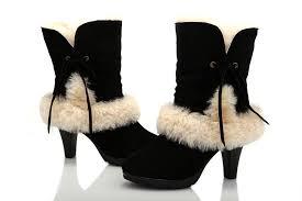 ugg sale high uggs leather boots sale ugg fur suede high heeled boots 5108 black
