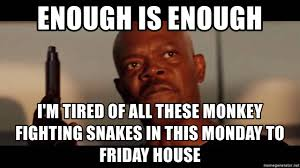 Snakes On A Plane Meme - enough is enough i m tired of all these monkey fighting snakes in