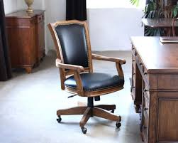 wooden rolling desk chair wood frame black leather rolling office chair