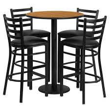 Outdoor Counter Height Bar Stools Furniture Round Table With Brown Wooden Top And Black Metal Based
