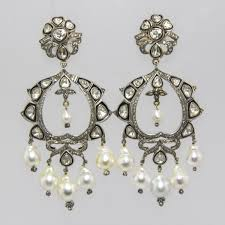 and pearl chandelier diamond and dangling pearl earrings with 14k gold and silver