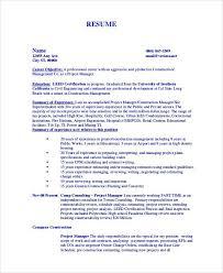 project manager sample resumes construction manager sample resume u2013 topshoppingnetwork com