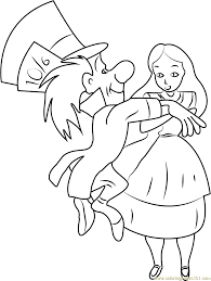 alice in wonderland template alice in wonderland with mad hatter coloring page free alice in
