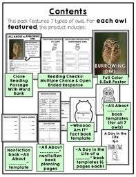 owl nonfiction unit close reading passages u0026 activities by erin