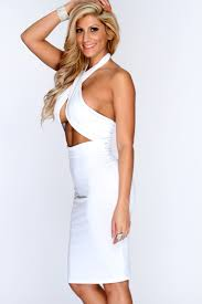 white cross halter top bodycon party dress