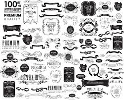 black vintage ornaments with labels and ribbon vector free vector