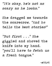 he tells the best stories by e9art scarecrow horror dark humor