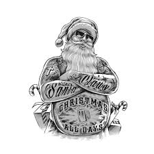 bad santa claus illustration by executor the black and white