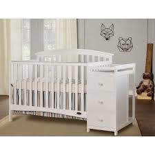 White Convertable Crib On Me Niko White Wood 5 In 1 Convertible Crib With Changer