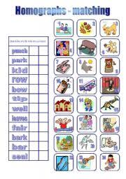 english teaching worksheets homographs