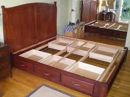 Queen Size Bed Frame With Storage Underneath Innovative King Size Bed Frame With Drawers Plans And How To Build