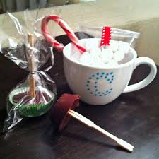 gift mugs with candy hot chocolate on a stick gift