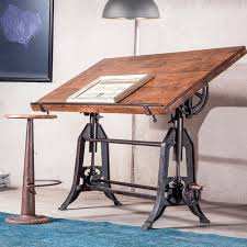adjustable height drafting table french industrial architect drafting table walnut zin home