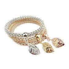 rose rhinestone bracelet images 3pcs charm women bracelet gold silver rose gold rhinestone bangle jpg