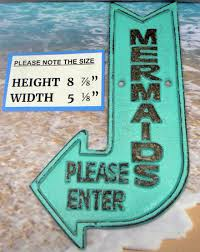mermaids please enter cast iron sign turquoise shabby chic cottage