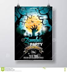 halloween zombie background vector halloween zombie party flyer design with typographic