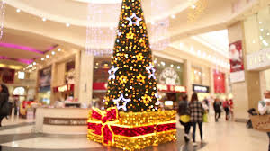 beautiful christmas tree in shopping mall centre center last beautiful christmas tree in shopping mall centre center last minute buying presents light decorations glitter celebration new years festive stock video