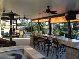 Pergola Ceiling Fan Endearing Cement Patio And Swivel Bar With Outdoor Kitchen