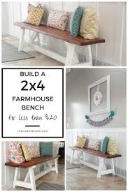 How To Build A Farmhouse Bench 2x4 Farmhouse Bench Build It For Less Than 20 The Creative Mom