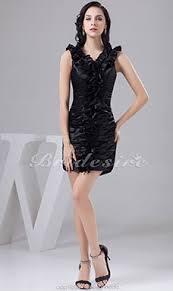 a linie v ausschnitt kurz mini satin brautjungfernkleid mit gefaltet p602 bridesire schwarz brautjungfernkleider schwarz