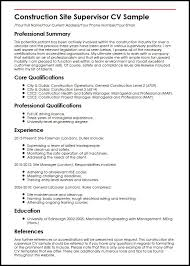 Sample Resume For Maintenance Engineer by Construction Site Supervisor Cv Sample Myperfectcv