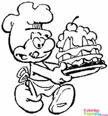 smurf wih birthday cake coloring pages print cartoon