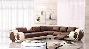 beige leather sectional sofa amazon com 4087 beige brown leather sectional sofa with built in