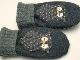owl mittens wool sweater mittens felted wool dark grey applique