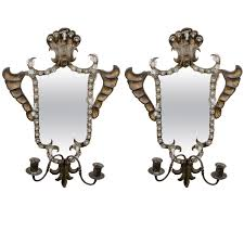 Antique Iron Sconces Antique Pair Of Venetian Mirrored Wall Sconces In Hand Wrought