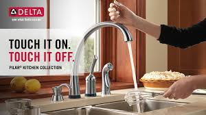 delta touch20 kitchen faucet delta pilar waterfall single handle standard kitchen faucet with