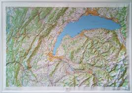 geneva map raised relief map lake geneva as 3d map
