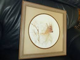 home interiors deer picture vintage home interiors deer print in wood look square frame with