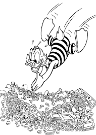 scrooge swims in money coloring pages for kids printable free