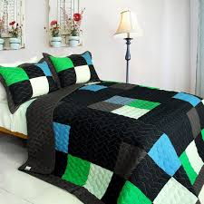 Twin Plaid Bedding by Fatal Attraction 2 Vermicelli Quilted Patchwork Plaid Quilt Set Twin