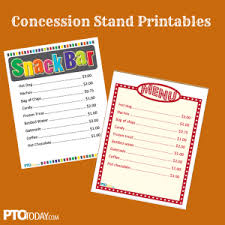 snack bar menu template concession stand printables pinteres