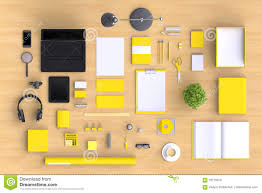 set of variety blank office objects organized for company