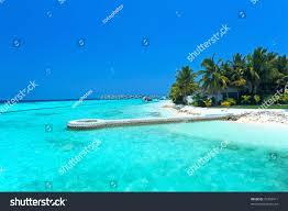 maldives water villa bungalows white beach stock photo 76399411
