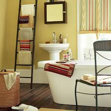 bathroom bathroom with cool decor ideas used yellow wall apint