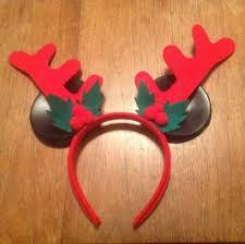 disney craft xmas old mickey ears glued onto reindeer antlers wha