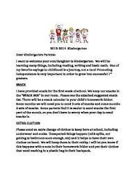 beginning of year kindergarten parent letter by erin jones tpt