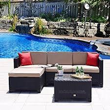 Wicker Sofa Cushions Amazon Com Patioroma 3pc Patio Outdoor Rattan Furniture Set